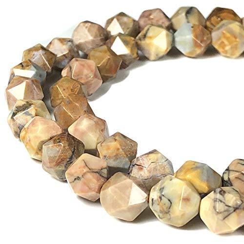 [ABCgems] Mexican Venus Jasper AKA Orbicular Rhyolite 8mm Precision-Star-Cut Beads for Beading & Jewelry Making
