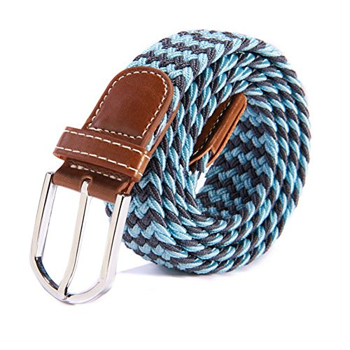 RevoLity Mens Multicolor Elastic Fabric Woven Braided Stretch Webbed Belt with PU Leather Buckle Length 105cm Colour (Sky nature) (Length Buckle)
