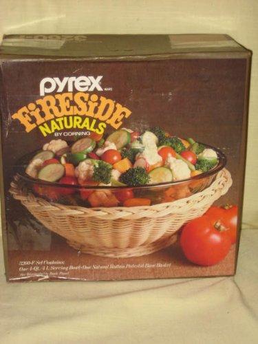 Vintage Corning Pyrex FIRESIDE Naturals 4 Quart / Liter Amber Round Serving Bowl w/ Natural Rattan Pedestal Base Basket - 3260-F USA