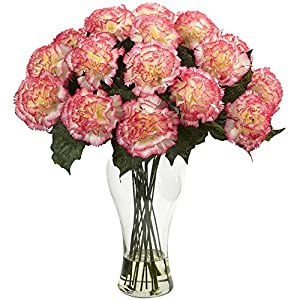 Nearly Natural Carnation Arrangement with Vase, Cream Pink 46