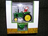 John Deere Tractor with Santa Claus Stocking Holder