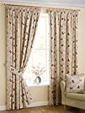Homescapes Luxury Red Cream Cotton Pencil Pleat Curtains Pair 167cm (66') Wide x 182cm (72') Drop Small Butterfly Print
