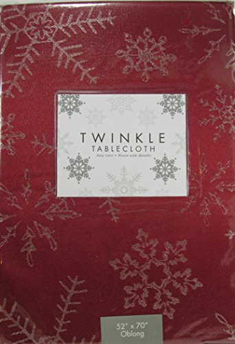 Tablecloth Twinkle Easy Care With Woven Metallic Red With Sn