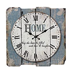 Stonebriar Worn Blue 15 Square White Wall Clock