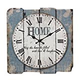 Cheap Stonebriar Square 15″ Rustic Farmhouse Worn Blue and White Roman Numeral Wall Clock, Shabby Chic and DIY Home Decor Accents for the Kitchen, Living Room, and Bedroom, Battery Operated