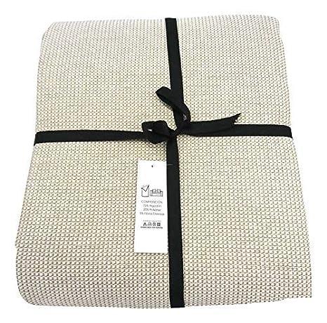 ENERGY COLORS textil-hogar Andra - Colcha Cubre-SOFÁ Foulard Plaid Cama Liso (180_x_260_cm, Crudo)