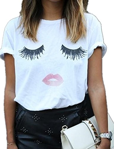 Haola Summer Fashion Women Cute Short Sleeve Printed Tops Casual T Shirt L-White