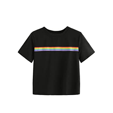 b7e8b50039 OldSch001 Womens Tops,Summer Rainbow Block Striped Crop Top School Girl  Teen T-Shirt