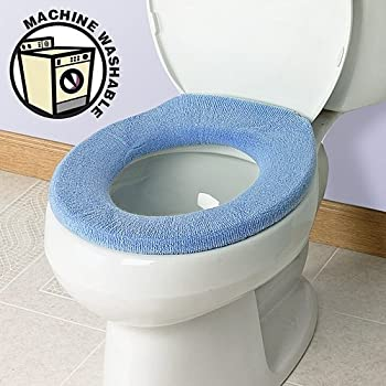 Soft n Comfy Toilet Seat Cover  Sky Blue Amazon com Bathroom Warmer Washable Cloth Pads