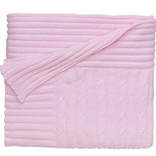 Pastel Classics Emerald Bay - Hebel Premium 100% Cotton Knit Blanket, Classic Cable Knit in Pastel Pink, 30