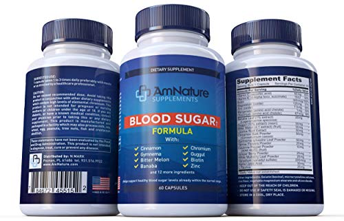 Blood Sugar Formula - Superb Blend of 20 Herbs and Nutrients to Help Support Healthy Blood Sugar Levels Already Within the Normal Range, 60 Capsules, 2 Month Supply, 100% Satisfaction Guarantee