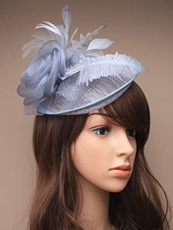 large silver grey hessian hat or hatinator on band for special occassions dabc70e3491