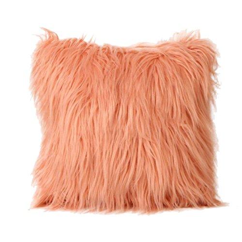 (Fashion Plush Furry Cushion Cover Throw Pillow Case Home Bed Room Sofa Decor (Orange))