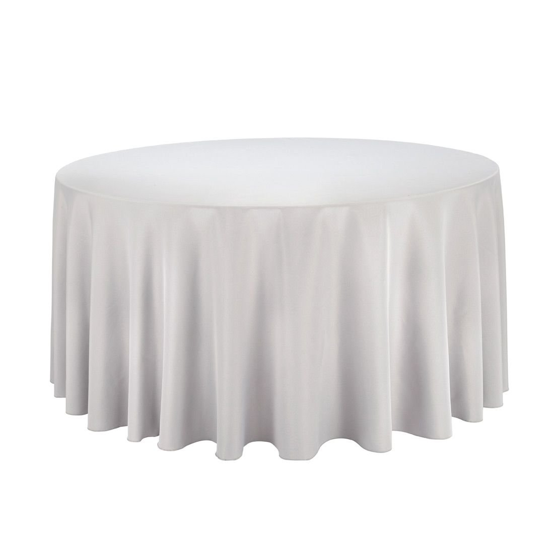 LinenTablecloth 120-Inch Round Polyester Tablecloth Silver
