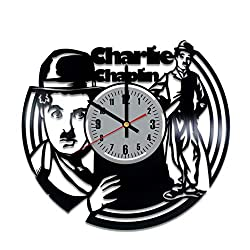 Charlie Chaplin Vinyl Wall Clock - Charlie Chaplin Art Handmade Wall Home Room Decor Made of Vinyl Record - Best Original Vintage Gift for Any Occasion