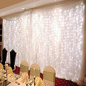 ZSTBT 300LED 9.84ft X 9.84ft Window Curtain Lights for Party Wedding Home Patio Lawn Garden