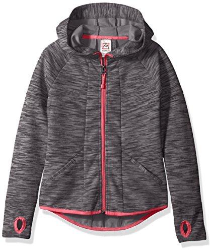 Avalanche Big Girls' Hooded Full Zip Jacket, Azura Charcoal, (Fleece Boys Zip Hooded Jacket)