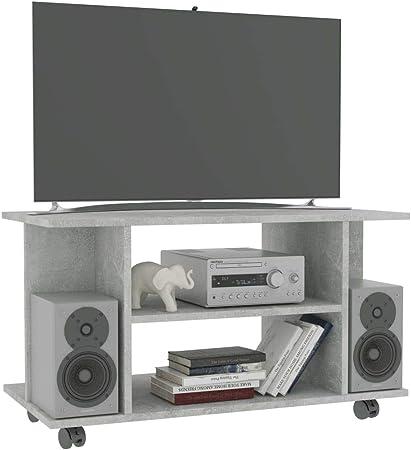 Festnight Mueble TV con Ruedas, Mueble para salón de aglomerado Gris Cemento 80 x 40 x 40 cm: Amazon.es: Hogar