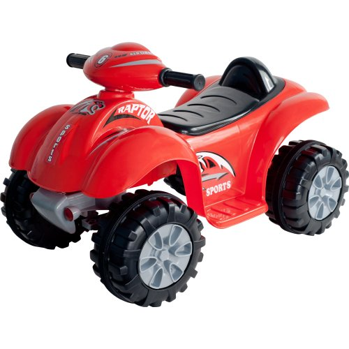 Ride On Toy Quad, Battery Powered Ride On ATV Dinosaur Four Wheeler With Sound Effects by Lil' Rider  – Toys for Boys and Girls 2 - 4 Year Olds (Red) - Four Wheelers Helmet Kids