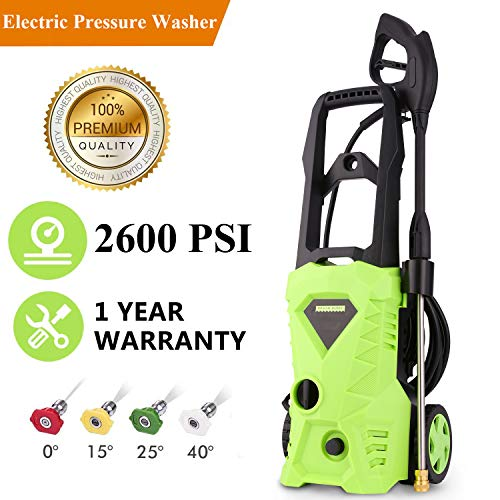 Hurbo Electric High Pressure Washer 2600PSI 1.6GPM Power Pressure Washer Machine,1600W Rolling Wheels High Pressure Professional Washer Cleaner Machine+ (4) Nozzle Adapter (US Stock)