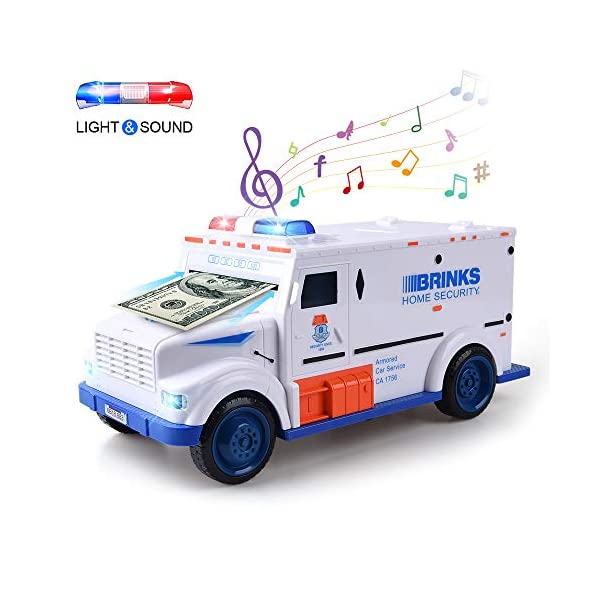 XREXS Electronic Piggy Banks, Cool Armored Car Bank with Password & Music,Best Kids Early Learning Educational Toys for Toddlers,Auto Scroll Cash Coin Bank for Adults ( Batteries Not Included)
