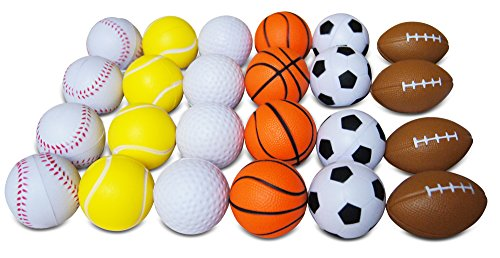 Novel Merk 24 Pack Anti-Stress Variety Sports Squeeze Ball for Kids Party Favors & School Carnival Prizes