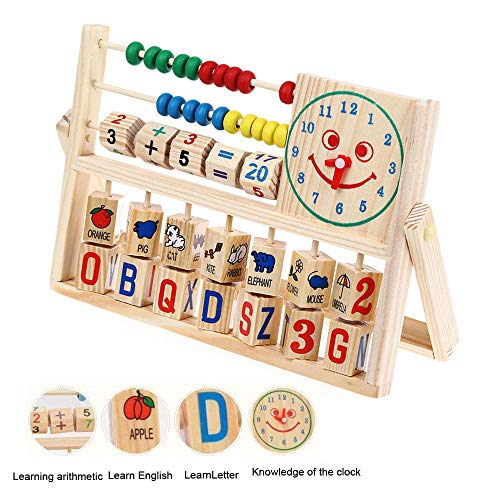 Abacus Wooden Toys, Kids Boy Girl Baby Learning Early Educational Development Classic Wooden Early Educational Learning Plate Toy With 14 Letter and Number Tiles (As Show)]()