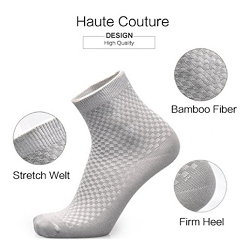 Vovomay Men Business Socks, Comfortable Cotton Bamboo Fiber Now show Solid Colour Short Socks