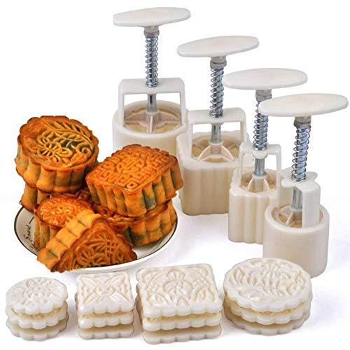 Aveks Mooncake Fodant Gift DIY Moon Cake Mold With 12 Pcs Mode Pattern For 4 Sets