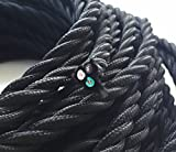 10ft 18/3 Black Twist Rayon Cloth Covered 3-Wire 18 Gauge Electric Cord, Farbic Wire Lamp Cord Fabric Wire Hanging Pendant Light Fixtures Great for Industrial Vintage Retro DIY Projects UL Listed