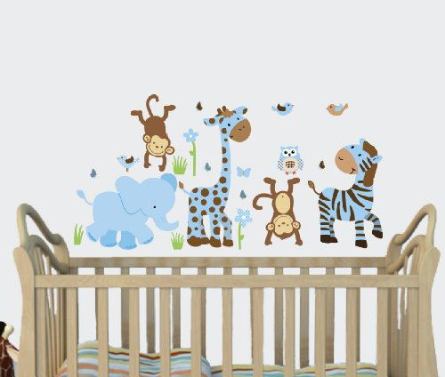 Amazon.com : Little Boy Blue, Baby Boy Wall Decals, Jungle Animal Stickers,  Boys Nursery : Baby