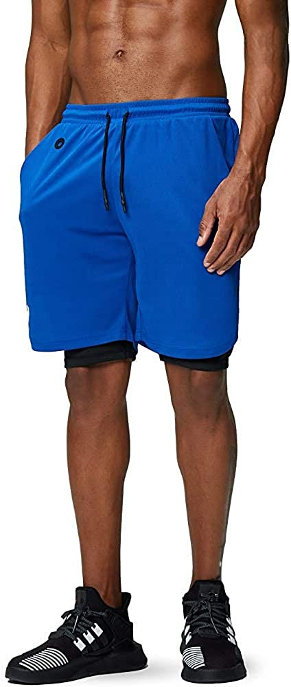 Lixada Mens 2 in 1 Running Shorts Gym Workout Quick Dry Breathable with Phone Pocket