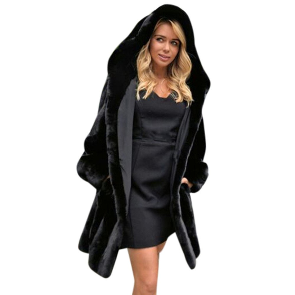 HOSOME Women Faux Fur Coat Ladies Womens Warm Jacket Winter Parka Outerwear Top Black