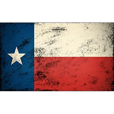 American Vinyl Vintage Texas Flag Sticker (Old Look Star Distressed tx yexan): Automotive