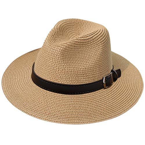 JOYEBUY Womens UPF50 Foldable Summer Straw Hat Wide Brim Fedora Sun Beach hat (Style G-Brown)