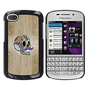 YiPhone /// Prima de resorte delgada de la cubierta del caso de Shell Armor - Sir Moustache Wood Grain Skull Acid - BlackBerry Q10