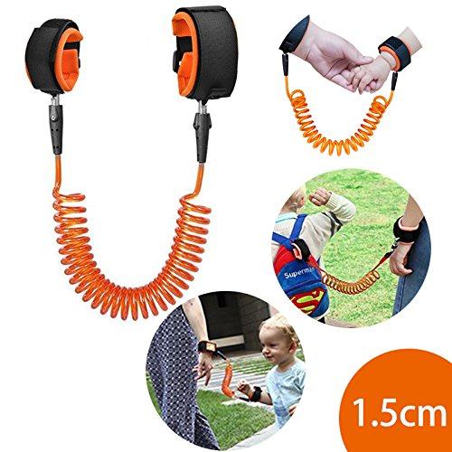 Anti Lost Wrist Link Baby Child Safety Harness Strap Rope Leash Walking Hand Belt Wristband, KPACO Wrist Straps Safe Anti-lost Hand Belt Straps for Toddlers, Babies and Kids (1.5m/4.9ft Orange)