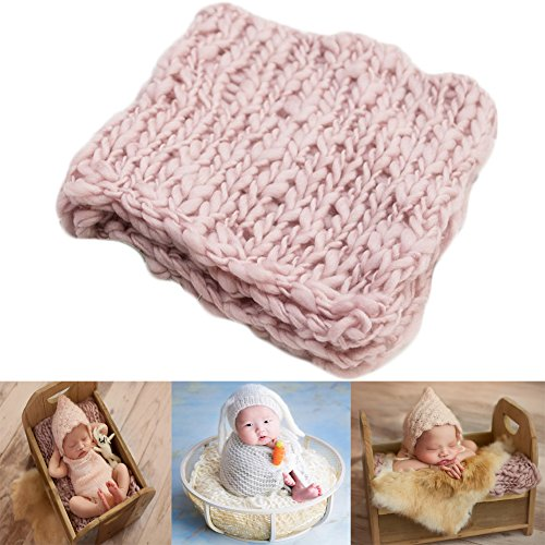 Baby Photography Props Basket Braid Wool Wrap Newborn Boy Girl Photo Shoot Baskets Filler Posing Stuffer Background Blanket (Light Pink)