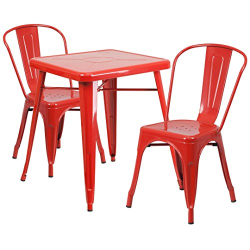 MFO 23.75'' Square Red Metal Indoor-Outdoor Table Set with 2 Stack Chairs