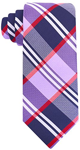 Buffalo Plaid for Men - Woven Necktie - Navy Blue and Purple
