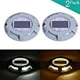 Solar LED Marker Lights- Decorative Aluminum Lamps- Wireless Outdoor Weatherproof Security Warning Light- Garden Decor Accent Lighting- Best for Dock Stairway Path Step Pool Patio(2Pack,Warm White)