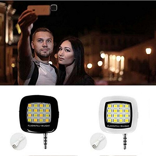 Selfie Light Lollipop Mini Phone Flash LED Fill-In Lighting Spotlight Camera Lamp for Photos & Video For iPhone 7 6 plus 6s 5s iPad Air Samsung Galaxy S6 S5 (White)