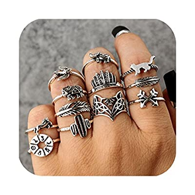 Cyntan Fashion Rings Set Boho Knuckle Stackable Rings Set For Women Girls