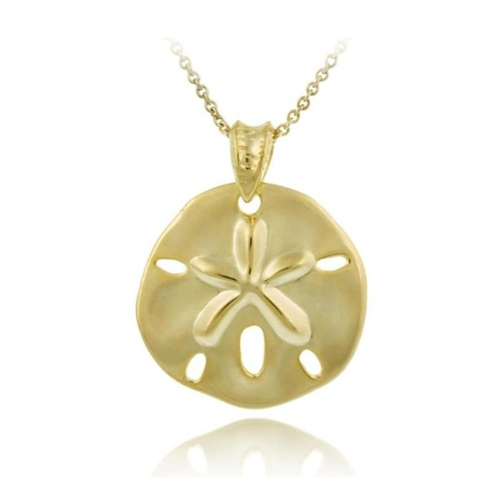Glitzs Jewels Gold Tone Over Sterling Silver Beach Sand Dollar Necklace