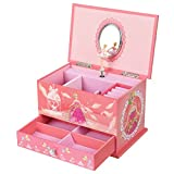 SONGMICS Musical Jewelry Box Ballerina Jewel Storage Case for Girls, Ball Princess Pink UJMC006