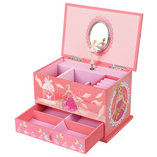 (SONGMICS Musical Jewelry Box Ballerina Jewel Storage Case for Girls, Ball Princess Pink)