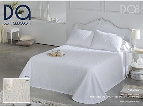 Don Algodón.- Colcha Carmiña Blanca para cama de 150 (250x270 cm): Amazon.es: Hogar