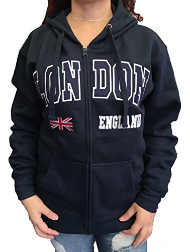 (London Embroidered Full Zip Hoody with Union Jack, London England)