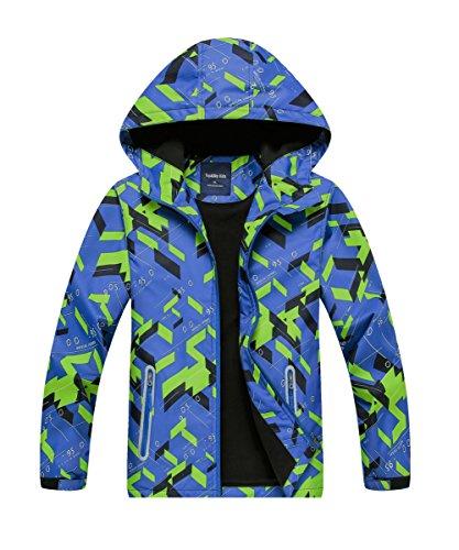 M2C Boys Geometric Fleece Lined Waterproof Jacket with Hood 7/8 Blue