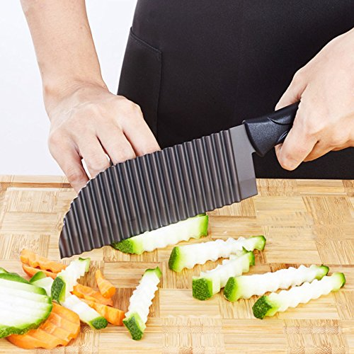 ife French Fry Cutter Crinkle Potato Slicer Stainless Steel Crinkle Cut Knife Potato Dough Waves Crinkle Cutter Slicer, Home Kitchen Chip Blade Cooking Tools (Original size) (Crinkle Cut Fries)